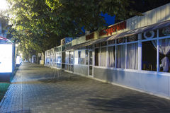 Closed cafes and pizzeria on the prospectus of Kirov (Pyatigorsk Stock Image