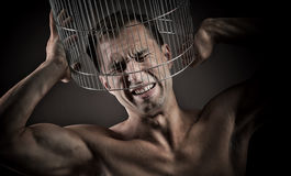Closed in a cage, concept Royalty Free Stock Photos