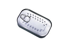 Closed can with sardines fish isolated with clipping path Stock Photo