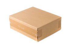 Closed cardboard Box or brown paper package box isolated with so Royalty Free Stock Photography