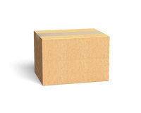 Closed cardboard box, 3D illustration Royalty Free Stock Images