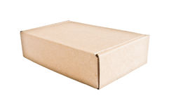 Closed cardboard box isolated Royalty Free Stock Photography