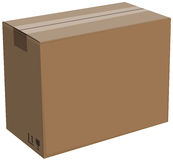 Closed cardboard box isolated. Illustration Royalty Free Stock Image