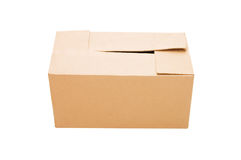 Closed cardboard box isolated over white Royalty Free Stock Images
