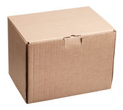 Closed cardboard box isolated on white Stock Images
