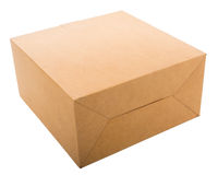 Closed cardboard box isolated on white. stock photography