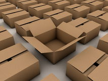 Closed cardboard boxes and one opened Stock Image