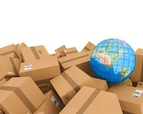 Stack of closed cardboard boxes. 3D Rendering. Closed cardboard boxes and wrapped with adhesive. Earth globe map on boxes. Concept of internetional shipment and vector illustration