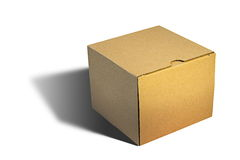 Closed carton box over white Stock Images