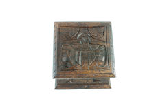 Closed carved wooden box. Isolated on a white background Royalty Free Stock Image