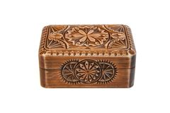 Closed carved wooden casket isolated Stock Photography