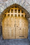 Wood gate closed in Malahide Castle, Ireland, Europe royalty free stock photo