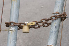 Closed. Chain with padlock Royalty Free Stock Image