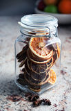 Closed Christmas decorations in a jar - star anise Stock Photography
