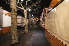 Empty closed christmas market stalls in Strasbourg after attacks. Closed Christmas Market stalls chalets after terrorist attack of Cherif Chekatt at Christmas royalty free stock image