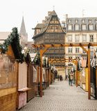 Closed Christmas Market after terrorist attacks in Strasbourg - stock photography