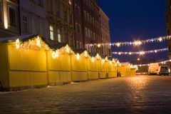 Closed Christmas stalls Stock Photography