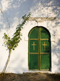 Closed church door, Nimfes, Corfu Stock Images