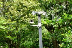 Closed circuit camera on the car park. surveillance camera. Closed circuit camera on the car park. surveillance camera on the tree. CCTV on green nature royalty free stock photo