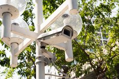 Closed circuit camera on the electric pole royalty free stock images