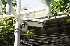 Closed circuit camera on the electric pole. Closed circuit camera on electric pole to Security stock image