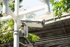 Closed circuit camera on the electric pole. Closed circuit camera on electric pole to Security royalty free stock images