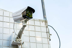 Closed-circuit camera. On sky cloud stock images