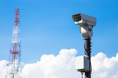 Closed circuit camera and  tower Radio Royalty Free Stock Images