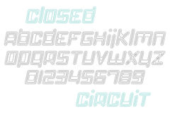Closed circuit. Set of thin line, slanted alphabet letters and numerals. vector font type design. modern, technology lettering icons. stylized logo symbols and Royalty Free Stock Photos
