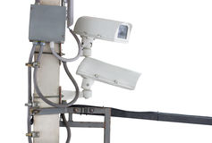 Closed-circuit television (CCTV) 0n the wall. CCTV Closed-circuit television (CCTV) is the use of video cameras to transmit a signal to a specific place, on a Royalty Free Stock Images