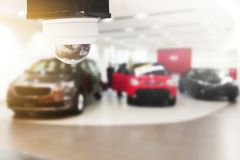 Closed-circuit television,Security CCTV camera or surveillance s. Ystem on ceiling for protect and check dangerous event for car park royalty free stock image