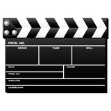 Closed clapboard. Closed movie clapboard used by movie directors over white background Royalty Free Stock Photography