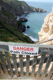 Closed cliff path on Sark Stock Images