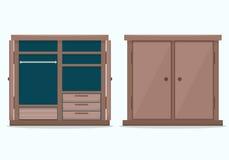 Closed cloths wardrobe. Flat style vector illustration Royalty Free Stock Photos