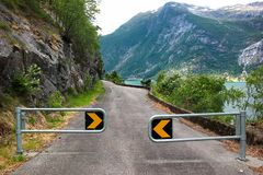 Closed coastal detour road, Norway.  stock photography