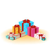 Closed colored boxes with gifts Royalty Free Stock Photos