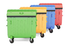 Closed colored garbage containers, 3D rendering. On white background Stock Photo