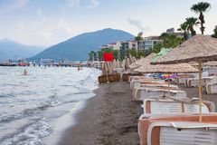 Red flag on the beach of Marmaris, Turkey. Closed in connection with bad weather the beach in Marmaris, 18 AUG, 2017 stock images