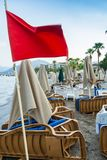 Red flag on the beach of Marmaris, Turkey. Closed in connection with bad weather the beach in Marmaris, 18 AUG, 2017 royalty free stock photos