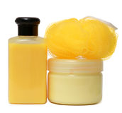 Closed Cosmetic Or Hygiene Plastic Bottle Of Gel, Liquid Soap, Lotion, Cream, Shampoo.  On White Background. Stock Photos