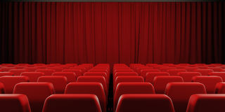 Closed curtain cinema screen. 3d. Royalty Free Stock Photo