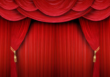 Closed curtain of a theater. Red curtain of a classical theater Royalty Free Stock Photography