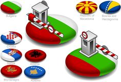 Closed customs on the button flag. And others  balcans countrys Royalty Free Stock Photo