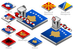 Closed customs on the button flag. Of balkan countries Royalty Free Stock Photography