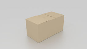 Closed 3D empty brown cardboard box, ready to be send on white b Royalty Free Stock Image