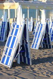 Closed deckchairs Stock Photos