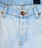 Closed denim jeans fly fragment Royalty Free Stock Images