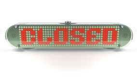 CLOSED - Digital Pin Sign with Emitting LED Light Royalty Free Stock Photo