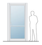 Closed door. This is a clipart of a Businessman standing next to closed door. Vector illustration, colors can be modified in addition vector format Royalty Free Stock Photography