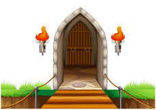 A closed door at the castle. Illustration of a closed door at the castle on a white background Stock Photo